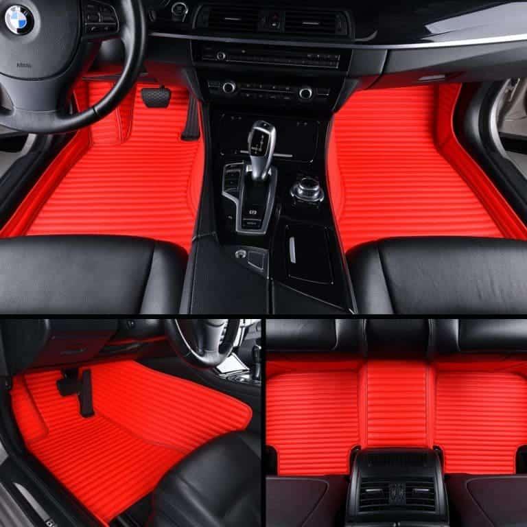 Red Stripe Luxury Car Mats Set Diamond Car Mats