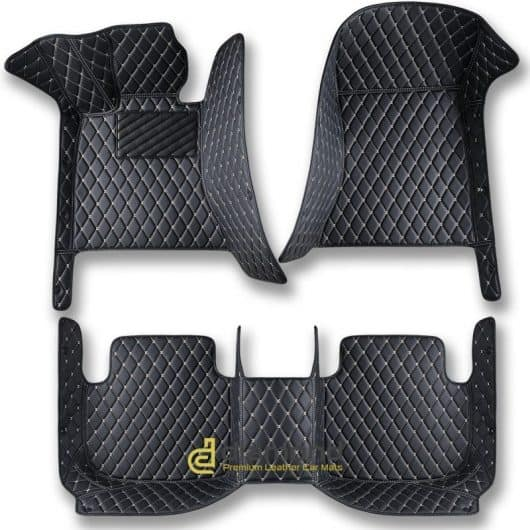 premium black and beige diamond car mats